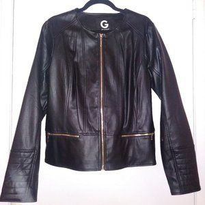 Women's black Guess Faux Leather Jacket